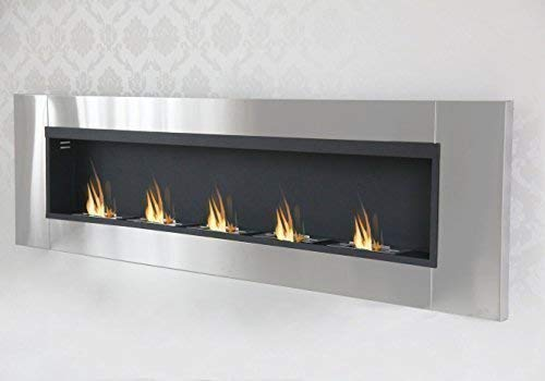 Druline Bio Ethanol Wall Fireplace Cheminee Gel Fireplace Gel Fireplace Fireplace Table Fireplace (190cm - 5 Burner Stainless Steel)