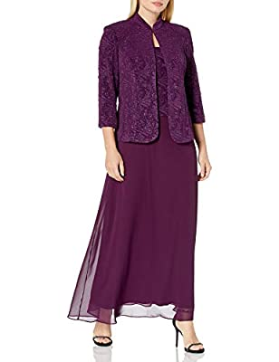 Two-piece set featuring long sleeveless dress and coordinating glittered jacket Dress features square neckline and glittered bodice This style is available in Regular, Plus Size and Petite on Amazon.com 3/4 sleeve high-neck long purple dress
