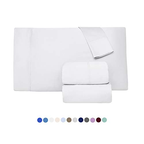 1000 Thread Count 100% Long Staple Egyptian Pure Cotton  Sateen Weave, Set of 2 Queen Silky Soft & Smooth White Pillow Cases