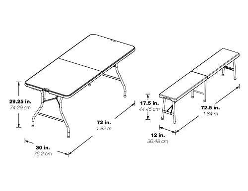 Office Star Resin 3-Piece Folding Bench and Table Set, 2 Benches and 6 x 2.5-Feet Table