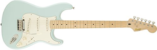 Squier by Fender 300500523 Deluxe Stratocaster Electric Guitar - Daphne Blue - Maple Fingerboard