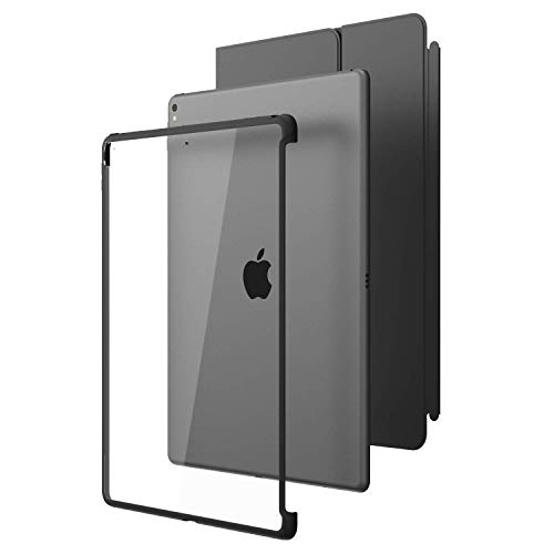 i-Blason iPad Pro 12.9 ケース [公式Smart cover& Smart keywordコンパチ] 保護ケース 薄型軽量 クリア (iPad Pro 12.9, 透明/黑)