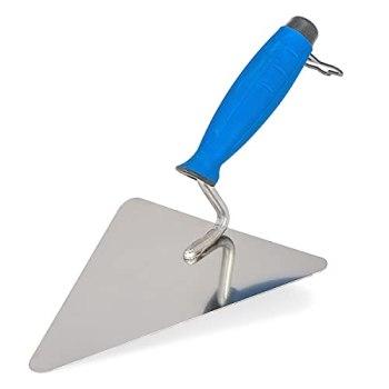 Mivos Truelle de maçon en forme de Berlin 200 mm en acier inoxydable / Truelle triangulaire pour travaux de maçonnerie / Spatule de maçonnerie / Truelle de plâtre avec poignée souple / Fabriquée en UE