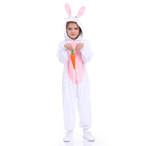 Easter Bunny costume for kids ,Rabbit pajamas, one-piece garment, small-2pcs, white (S(for height 35