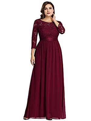 Fully lined, no built-in bras, low stretch Features: 3/4 Sleeves, Ruched On the Bust and Waist, Round Neckline Decorated with Lace , Maxi Dress. Perfect for Formal Evening, Prom, Wedding as Bridesmaid and Mother of the Bride and Groom, Cocktail Party...