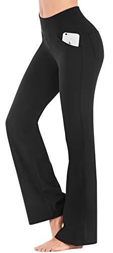 IUGA Bootcut Yoga Pants with Pockets for Women High Waist Workout Bootleg Pants Tummy Control, 4 Pockets Work Pants for Women Black 1