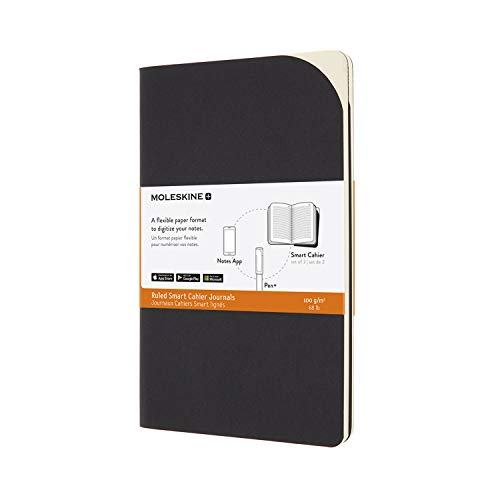 Moleskine, Cuaderno de Papel Digital, Set de 2 Cuadernos de Rayas Compatibles con Pen+, Tapa de Cartón, Tamaño Grande 13 x 21 cm, Color Negro, 80 Páginas