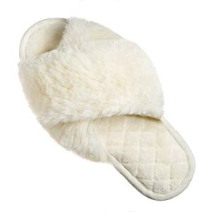 FIZILI Slippers for Women Fuzzy Cozy Furry Home Cute Fluffy Soft Sole Plush for House Indoor Outdoor Memory Foam Open Toe Women Slippers