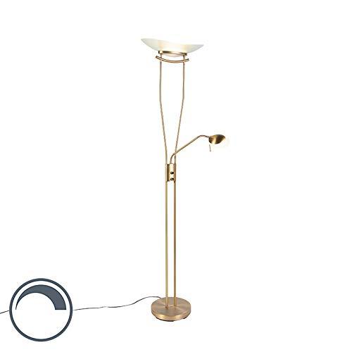 QAZQA Modern Moderne Stehleuchte/Stehlampe/Standleuchte/Lampe/Leuchte Bronze inkl. LED und Dimmer - Lexus Dimmer/Dimmbar/Innenbeleuchtung/Wohnzimmerlampe/Schlafzimmer/Deckenfluter Gl