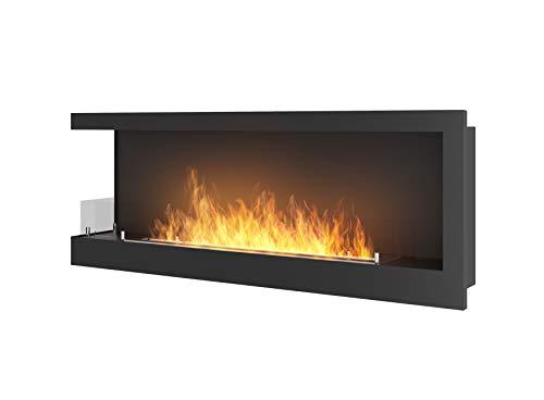 Corn120L Bioethanol Fireplace Dimensions 1200 x 450 mm Matt Black