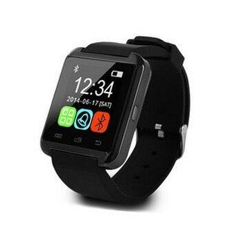 Antech Bluetooth smart watch U8 スマート ウォッチ 1.44インチ 超薄型フルタッチ ウォッチ 多機能 時計 健康 for Sony HTC Samsung ISO (Black)