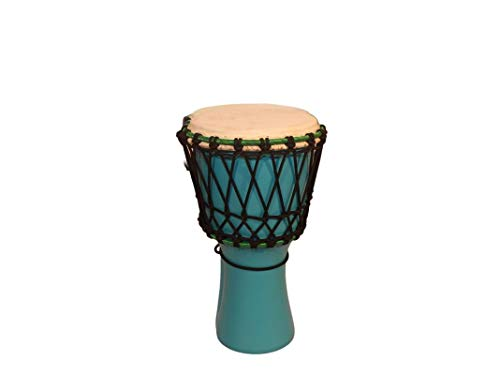 Star Musical And Handicraft Djembe 8 Inch African Hand Drums (Tribal Dholki) Deep Carved from Single Piece Mango Wood - Blue Color (8 x 16 Inches)