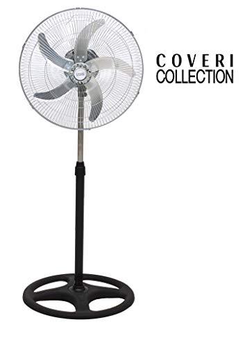 Enrico Coveri Ventilatore A Piantana In Acciaio Con 5 Pale In Alluminio, Altezza 125 Cm Regolabile,...