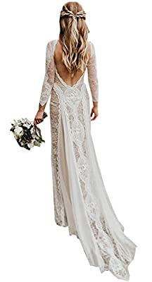 Material:Lace,Long Sleeves.Champagne color use champagne lining and ivory lace,white color use white lining and white lace. Please choose the size referring to our size chart image on the left. Do not use Amazon size chart The dress can be used weddi...