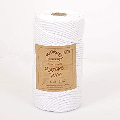 Everlasto, spago singolo Twist in morbido cotone macram, 38/6 (4 mm circa) (bianco neve)