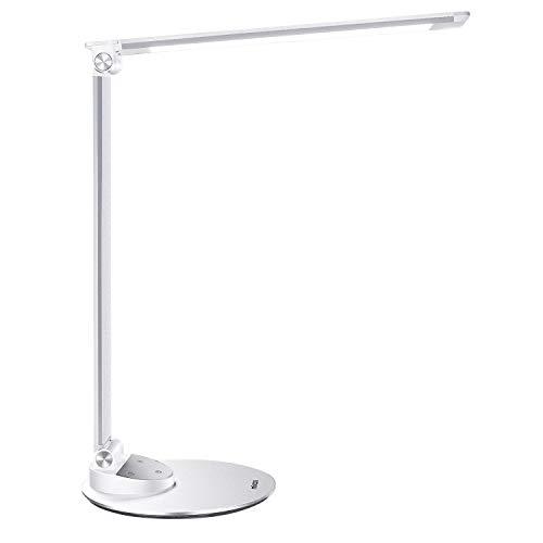 LED Schreibtischlampe Miroco Schreibtischlampen mit 5 Farbmodus und 5 Helligkeitsstufen Augenpflege, USB-Ladeanschluss 5V 1.2A, Ultradünn aus Aluminium Berührungssteuerung mit Speicherfunktion