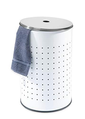 Home4You Wäschetonne Wäschesammler Wäschekorb | Edelstahl weiß | ca. 54 Liter | 57 cm hoch