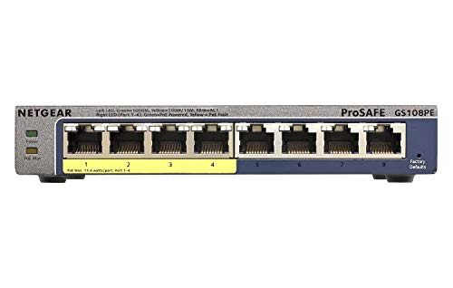 Netgear GS108PEv3 PoE Unmanaged Switch, Gigabit...