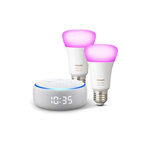 31KiA1scpzL Notre bon plan !  Echo Dot (3ème génération), Enceinte connectée avec horloge et Alexa + Philips Hue White & Color Pack de 2 ampoules...