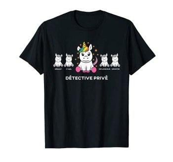Détective privé licorne amusante pour les employés T-Shirt