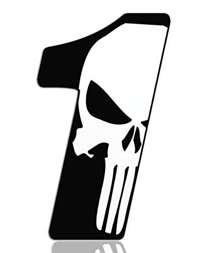 Biomar Labs® Número 1 Punisher Calavera Vinilo Adhesivo Pegatina Coche Auto Motocross Moto Sport Start Racing Tuning N 361
