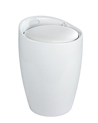 WENKO Hocker Candy, Badhocker, mit abnehmbarem Wäschesack, Ø 36 x 50,5 cm, weiß