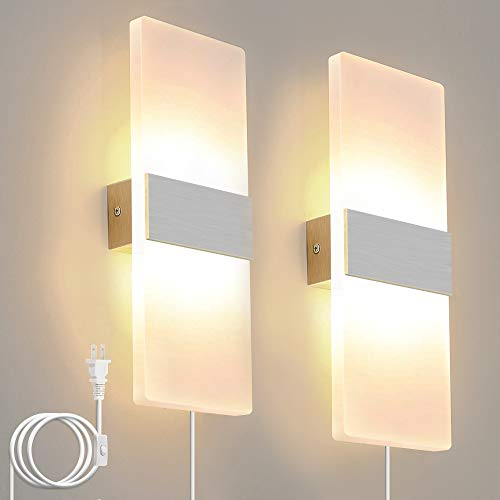 Bjour Modern Wall Sconce Plug In Wall Lights LED Acrylic Wall...