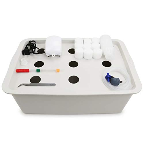 Freehawk Hydroponic System Growing Kit with 9 Holes with with Air Pump,Bubble Stone and Planting Sponges Cultivation Seeding Plant Grow Box