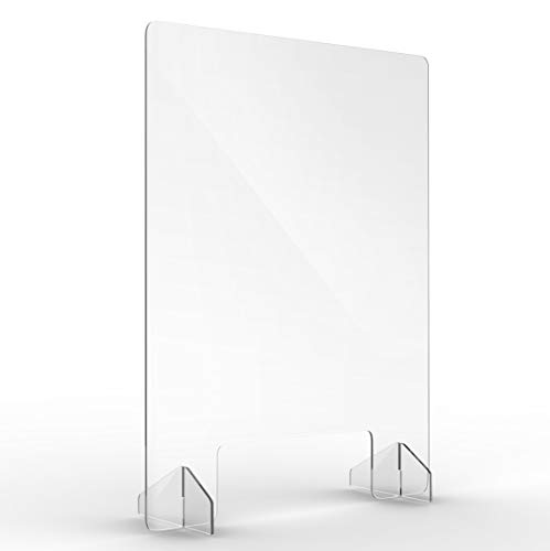 Adir Guard Plexiglass Sneeze Guard Shield for Counter, Restaurant, Salon and Business Use, Vertical Free-Standing Protector, Heavy Duty Clear Acrylic, Reusable and Durable - 32 inch x 24 inch