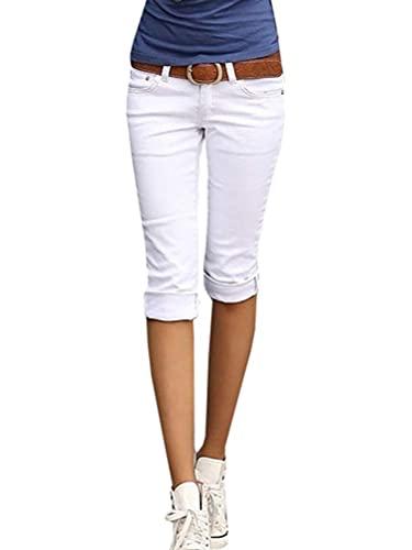 ORANDESIGNE Capri-Pantaloni con Cintura di Similpelle Pantaloni Donna 1 Bianco XXL