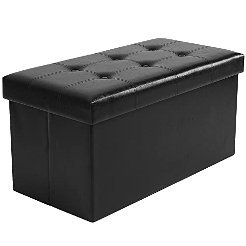 YITAHOME Folding Storage Ottoman Bench with 80L Storage Space, Faux Leather Footrest with Memory Foam Padded Seat for Living Room Bedroom and Hallway, 30'' x 15'' x 16'' (Black)