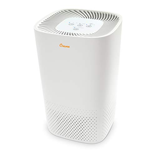 Crane Air Purifier with True HEPA Filter, Germicidal UV Light, 250 Sq Feet Coverage, Timer Function, Sleep Mode, Washable Particle Filter, EE-5067