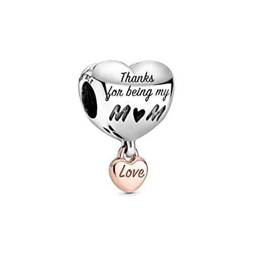 Pandora Charm bicolor Love You Mum con corazón de aleación de metal chapado en oro rosa de 14 quilates y plata de ley de la colección Pandora Moments