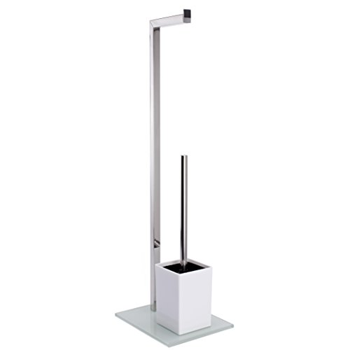 MSV Bad Serie Sydney Stand WC Garnitur aus Edelstahl und Glas mit Herausnehmbaren Innenbehälter für die WC Bürste Weiß