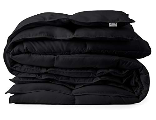 Black Down Alternative Comforter Duvet Insert - Corner Tabs, Double Stitches, Piped Edges, Siliconized Fiber, Protects Against Dust Mites, Hypoallergenic, Allergy Free - King 104' x 90'