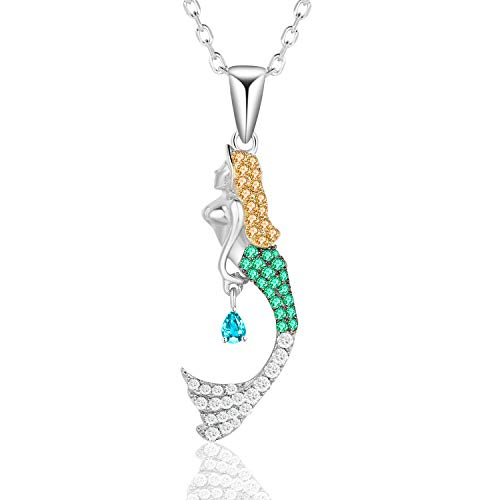 Caperci Multi-Gemstone Sterling Silver Mermaid Pendant Necklace for Women - Valentines Jewelry Gift for Her