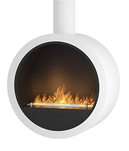 Design biofuel Fireplace Sined Fire Incyrcle with bioethanol Burner for Wall mounting Modern bio Fireplace Made of Powder-Coated Steel Colour White Silk matt