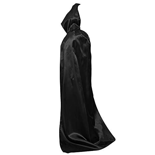 Myir JUN Largo Capa con Capucha, Unisex Adulto Niños Disfraz de Halloween Fiesta Disfraces Vampiro Traje (Negro, L)