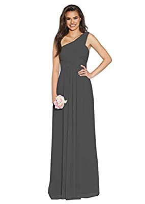 Elegant a-line empire sleevesless long one shoulder pleated chiffon dresses crisscross built-in bra fully lined. We select high-quality fabrics and have well experienced designers to handmade every dress for our customers, ensure you have the best we...