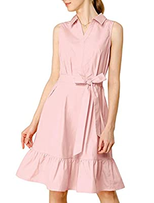 Elastic Waist Back, Point Collar, Knee Length, Ruffled Hem, Solid Color, A-line Cotton Dress A retro collar neckline adds demure, feminine grace to this cotton dress in shades of graceful pink for fresh, of-the-moment style. Occasion: Weekend, Shoppi...