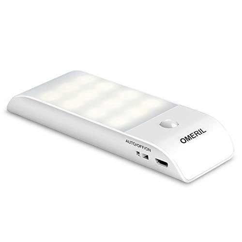Luce Notte LED, OMERIL USB Ricaricabile Luce Armadio con Sensore di Movimento e Luce, 3 Modalit di Illuminazione, Luce Notte con Striscia Magnetica Adesiva per Armadio, Corridoio, Cucina, Scale, Car