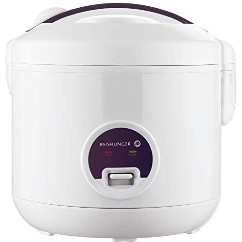 Reishunger cuiseur à riz & cuiseur à vapeur avec fonction de maintien au chaud - Pour 1-6 personnes - Préparation rapide sans brûler - Revêtement anti-adhésif avec insert pour cuiseur à vapeur, cuillère et tasse à mesurer