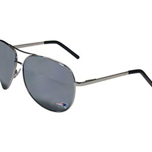 Siskiyou Sports NFL New England Patriots Aviator Sunglasses, Black / Silver