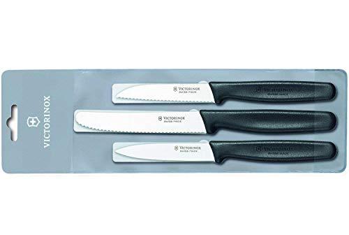 Victorinox 3-teiliges Küchenmesser-Set für Gemüse (Gemüsemesser, Spülmaschinengeeignet) schwarz