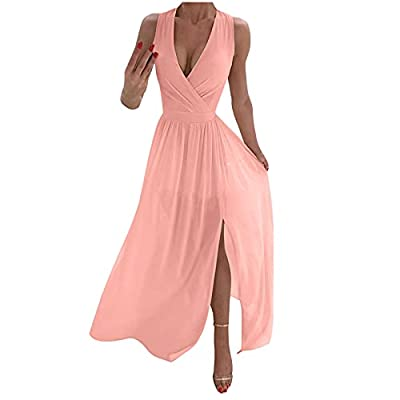 ♥ SIZE NOTICE - Our size is different from Amazon's. Before order, please carefully read the Size Chart we provided in our picture, select one to two sizes larger than usual. ♥ FEATURES - V Neck, Solid Color, Sleeveless, Flowy, Elegant, Trendy, Split...
