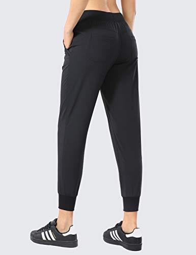 CRZ YOGA Women's Lightweight Joggers Pants with Pockets Drawstring Workout Running Pants with Elastic Waist Black Medium 3