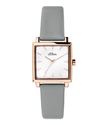 s.Oliver Damen Analog Quarz Uhr mit Leder Armband SO-3711-LQ