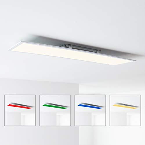 LED Panel Deckenleuchte mit RGB Farbwechsel per Fernbedienung steuerbar, 120x30cm, 40 Watt 4000 Lumen, 2700-6500 Kelvin aus Metall/Kunststoff in wei
