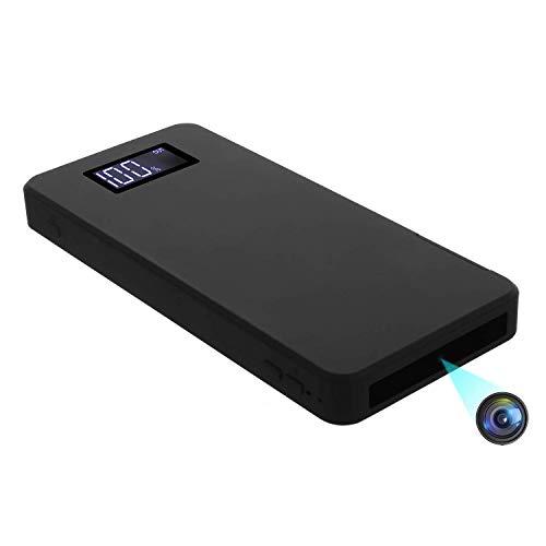 Telecamera Spia Nascosta, Mini Telecamera Spia 10000mAh Portatile Batteria Esterna 1080P Videocamera Spia Nascosta con Visione Notturna/Rilevamento del Movimento/Sensore di Gravità(32 GB integrati)
