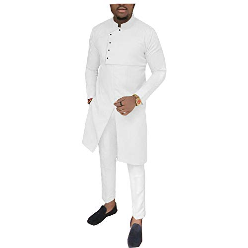 African Men Clothing 2 Piece Set Dashiki Coats Jacket+ Ankara Pants Suit Tribal Tracksuit Pocket 11 L